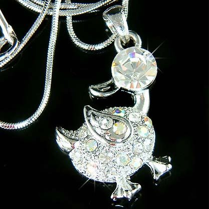 Cute Swarovski Crystal Goose Duck Easter Duckie Pendant Necklace