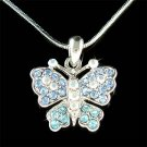 Elegant Bride Blue Swarovski Crystal Butterfly Pendant Necklace