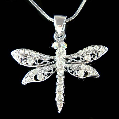 Swarovski Crystal Filigree Cut Out Dragonfly Pendant Necklace