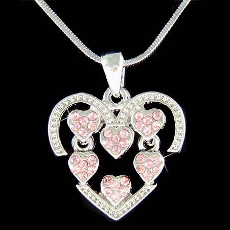 Bridal Swarovski Crystal Floating Pink Love Heart Necklace