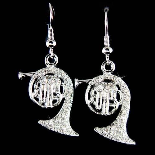 French Horn Swarovski Crystal Earrings