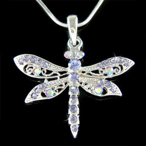 Purple Filigree Dragonfly Swarovski Crystal Pendant Necklace