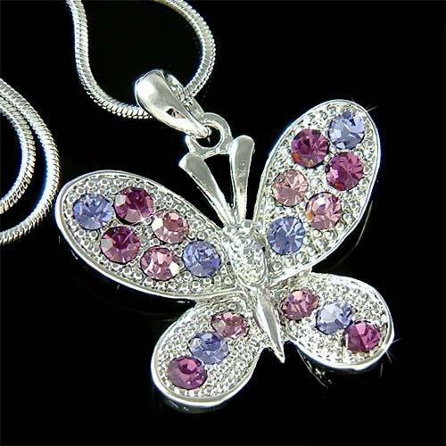 Sparkling Purple Swarovski Crystal Butterfly Pendant Necklace