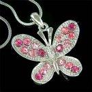 Bridal Wedding Pink Swarovski Crystal Butterfly Pendant Necklace
