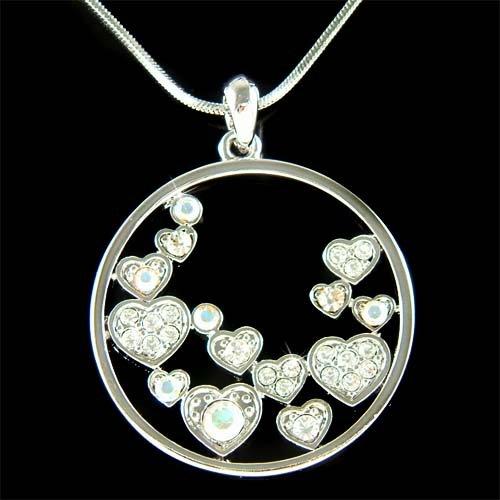 Bridal Swarovski Crystal Floating Circle Of Love Heart Necklace