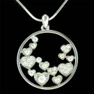 Bridal Swarovski Crystal Floating Circle Of Love Heart Necklace