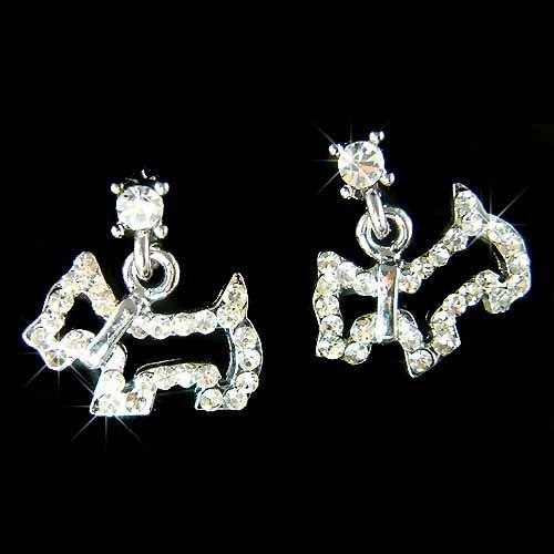 Scottish Terrier Scottie Westie Dog Swarovski Crystal Earrings