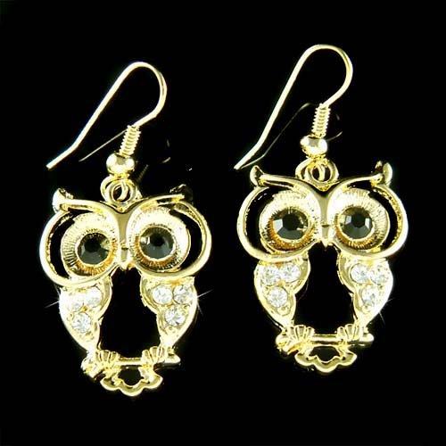 Gold Wise Owl Smart Wisdom Teacher Swarovski Crystal Earrings