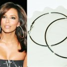 "4"" (100mm) Giant Huge Celebrity White Gold-Plated Hoop Earrings"