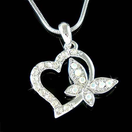 Cut-out Heart with Butterfly Swarovski Crystal Pendant Necklace