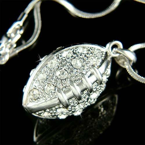 Sport 3D American Football Swarovski Crystal Pendant Necklace