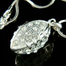 Sport 3D American Football Swarovski Crystal Pendant Necklace