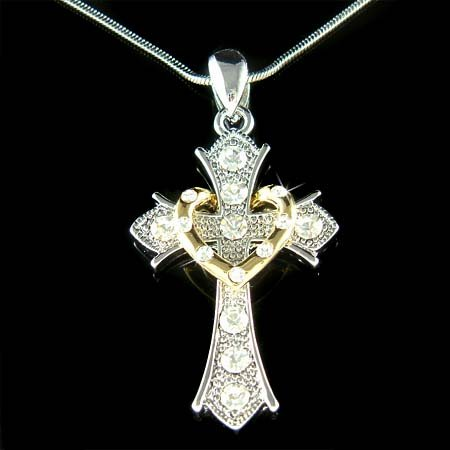 Swarovski Crystal Heart w/ Lord Jesus Christ God Cross Necklace