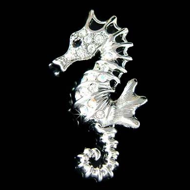 Swarovski Crystal Seahorse Brooch for Beach Wedding Bride