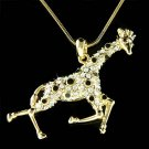 Gold Zoo Animal Giraffe Safari Swarovski Crystal Charm Necklace