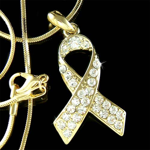 Gold Childhood Cancer Support Our Troops Crystal Ribbon Necklace