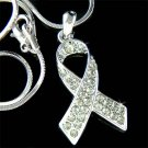 Swarovski Crystal Brain Cancer & Tumor Awareness Ribbon Necklace