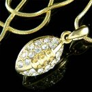 Gold Swarovski Crystal American Football Team Pendant Necklace