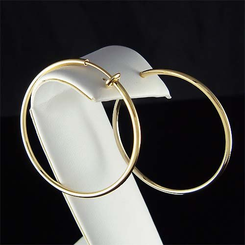 "1 7/8""(47mm) 14K Gold-Plated Round Hoop Clip On Earrings"
