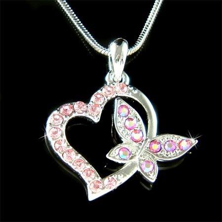 Pink Love Heart Butterfly Swarovski Crystal Pendant Necklace