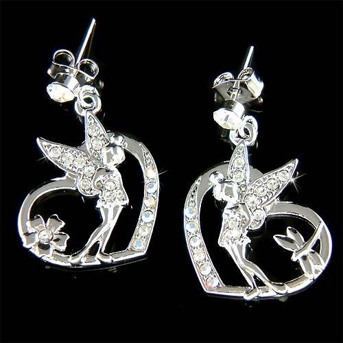 Tinkerbell in Love Cutout Heart Swarovski Crystal Fairy Earrings