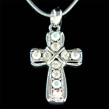 Holy Cross Swarovski Crystal Jesus Christ God Religious Necklace