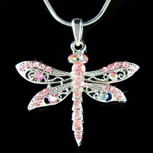 Pink Filigree Dragonfly Swarovski Crystal Pendant Chain Necklace
