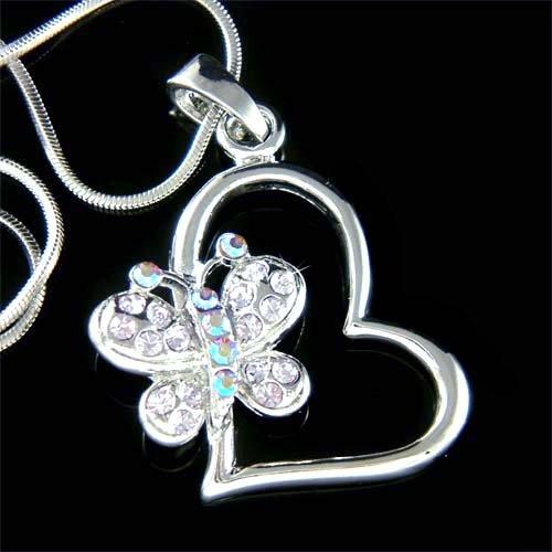Swarovski Crystal Cutout Heart Purple Butterfly Pendant Necklace