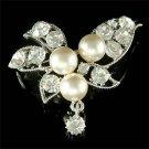 Swarovski Crystal Bridal Wedding Floral Pearl Bouquet Brooch