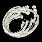 Bridal Swarovski Crystal Clear Wedding Oval Sash Bouquet Brooch