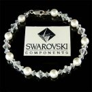 Swarovski Pearl and Crystal Bridal Sterling Silver Bracelet