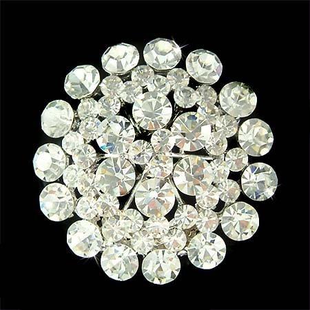 Clear Swarovski Crystal Bridal Wedding Dress Round Circle Brooch