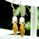Bride Freshwater Pearl Topaz Swarovski Crystal Gold Earrings