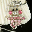 Pink Swarovski crystal Little Pig Piggy Piglet Pendant Necklace