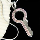 Elegant Pink Lock Key to my Heart Swarovski Crystal Necklace