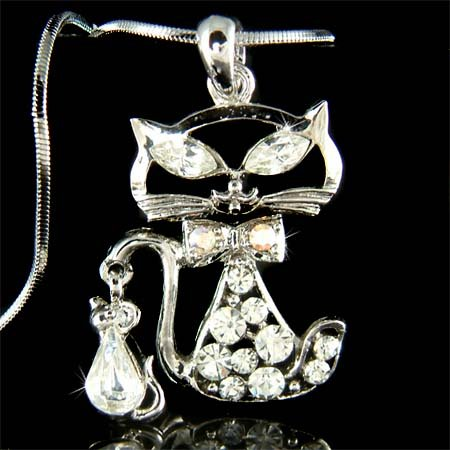 Kitten Kitty Cat and Mouse Swarovski Crystal Pendant Necklace