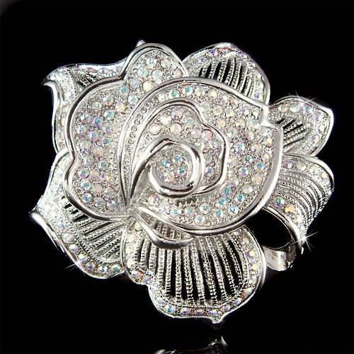 Swarovski Crystal Rose Floral Mother of Bride Bouquet Pin Brooch