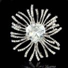 Big Swarovski Heart Crystal Starburst Brooch for Wedding Dress