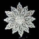 Holiday Swarovski Crystal Filigree Poinsettia Flower Pin Brooch