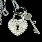 Love Lock Key to My Heart Swarovski Crystal Pendant Necklace
