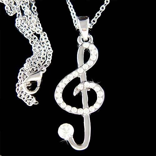 Swarovski Crystal Clear Treble Clef Music Note Pendant Necklace