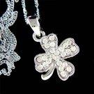 Lucky Swarovski Crystal 4-Leaf Clover Shamrock Pendant Necklace