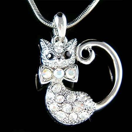 Animal Lover Pussy Kitty Cat Swarovski Crystal Pendant Necklace