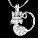 Animal Lover Pussy Kitty Cat Swarovski Crystal Pendant Necklace