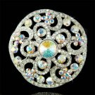 Luxury Swarovski Crystal Round Circle Filigree Flower Pin Brooch