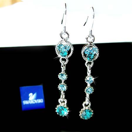 Blue Zircon Bridal Circle Swarovski Crystal Dangle Earrings