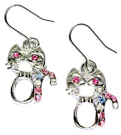 Christmas Candy Cane Swarovski Crystal Kitty Kitten Cat Earrings