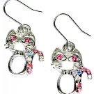 Christmas Candy Cane Swarovski Crystal Kitty Kitten Cat Earrings