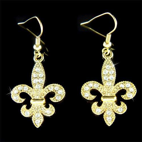 Gold Fleur de Lis Lys Swarovski Crystal Lily Flower Earrings