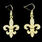 Gold Fleur de Lis Lys Swarovski Crystal Lily Flower Earrings